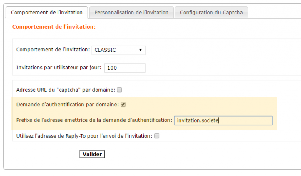 Comportement de l'invitation Mailinblack