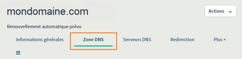 Onglet Zone DNS Mailinblack