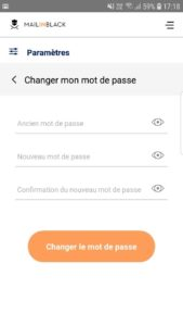 changer mot de passe application mobile Mailinblack