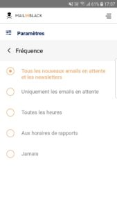 frequence notification application mobile Mailinblack